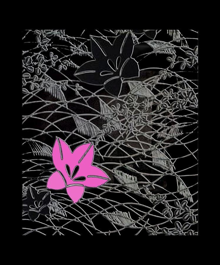 Chirimen Digital Art - Floral Chirimen by Asok Mukhopadhyay