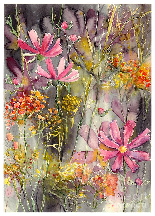 Pink Painting - Floral cosmos by Suzann Sines