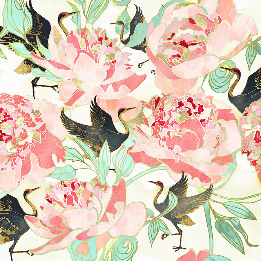 Floral Digital Art - Floral Cranes by Spacefrog Designs