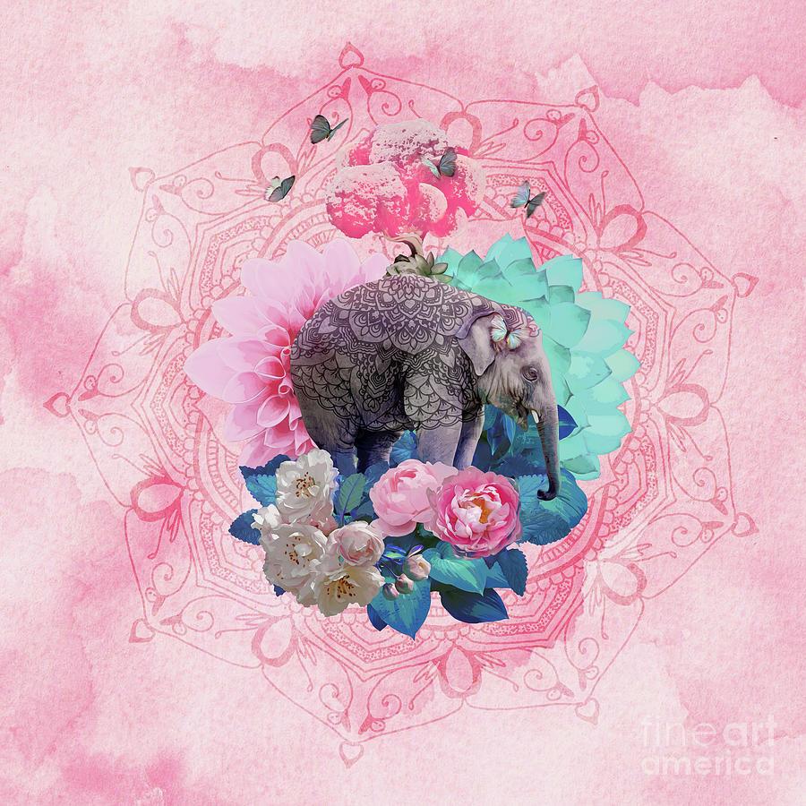 Elephant Digital Art - Floral Elephant by Donika Nikova