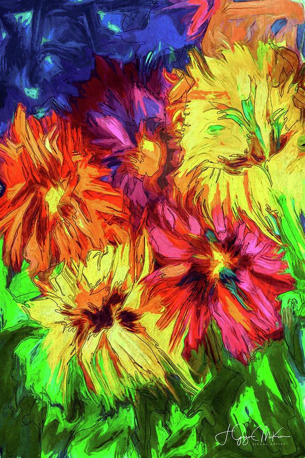 Floral Fireworks Digital Art