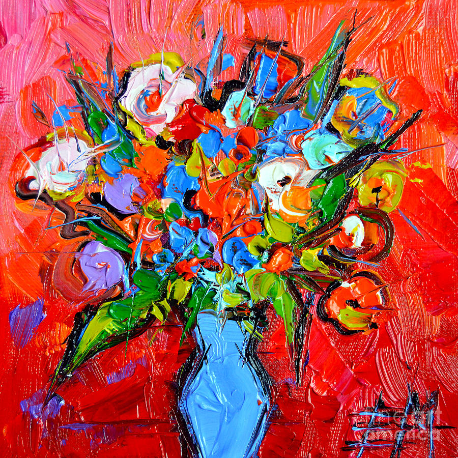 Floral Painting - Floral Miniature - Abstract 0115 by Mona Edulesco