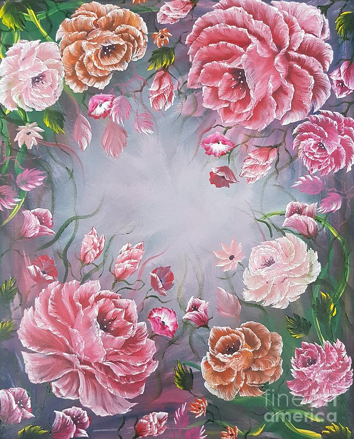 Beautiful Painting - Floral Enchanting Roses by Angela Whitehouse
