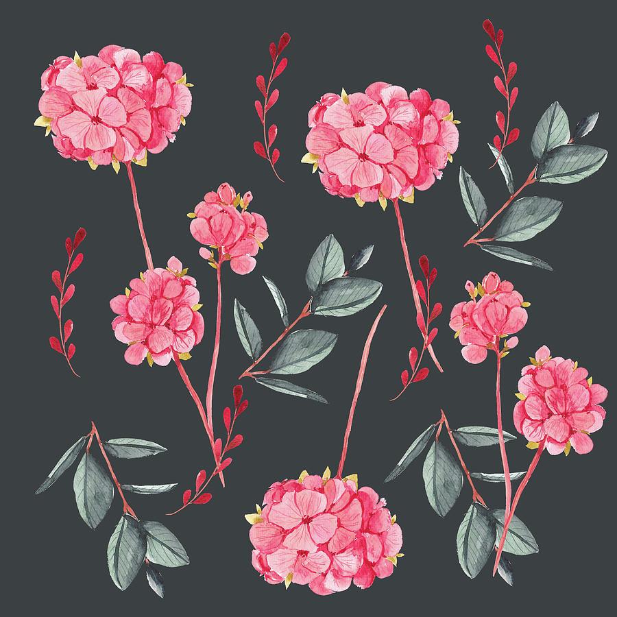 Floral On Black Digital Art