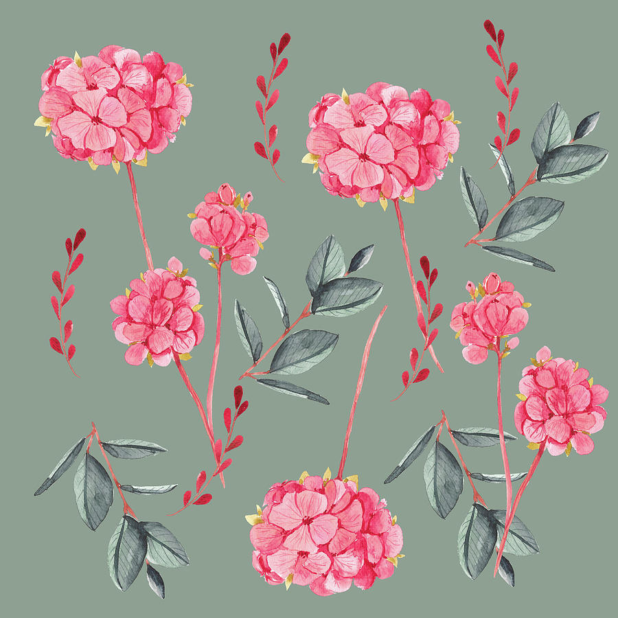 Floral On Green Digital Art