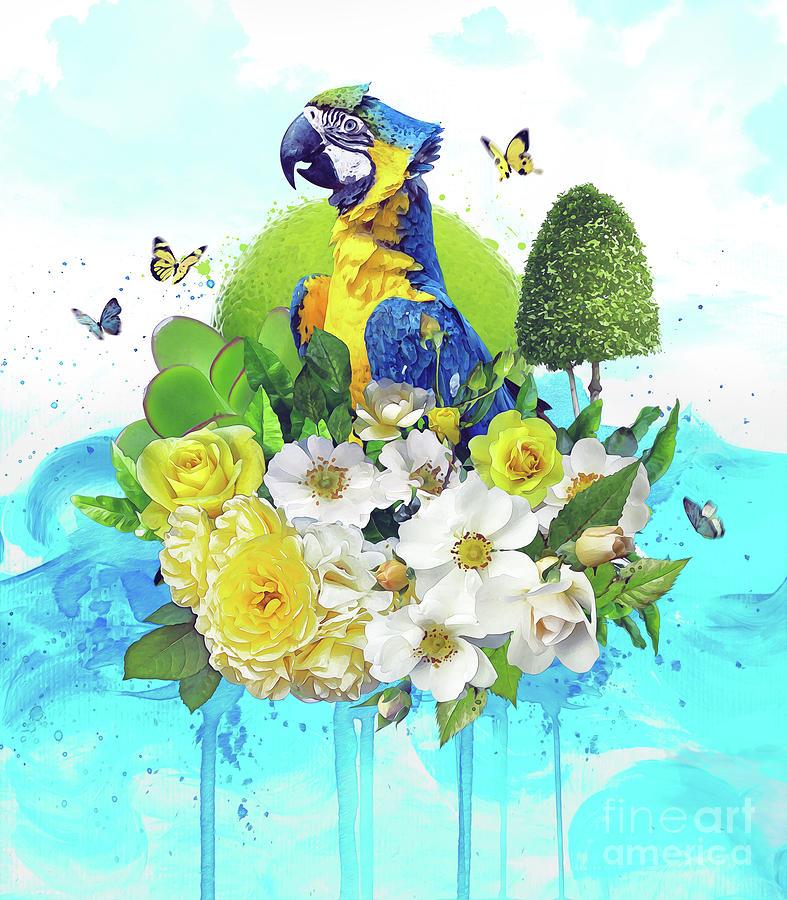 Floral Digital Art - Floral Parrot by Donika Nikova
