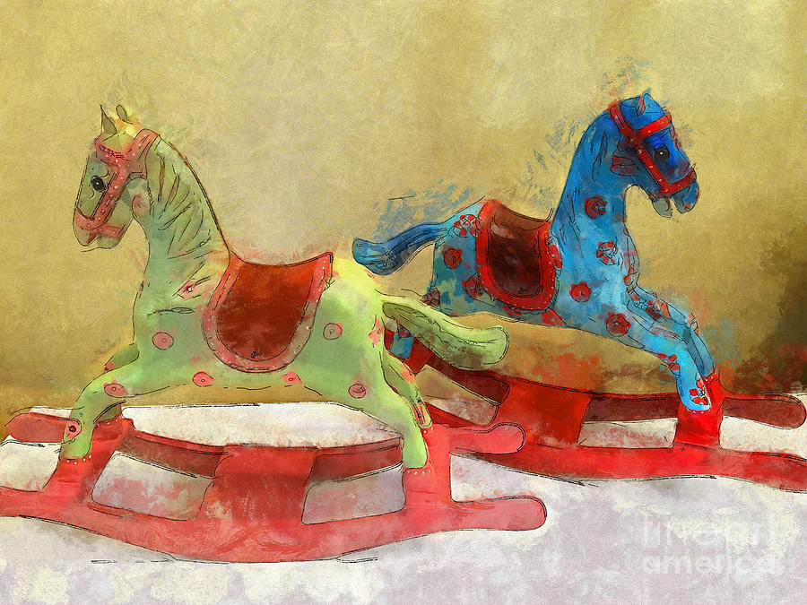 Horse Digital Art - Floral Rocking Horses by Claire Bull