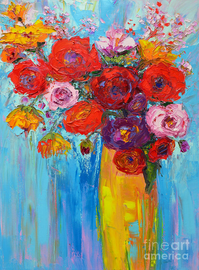 Wild Roses and Peonies, Original Impressionist Oil Painting by Patricia Awapara