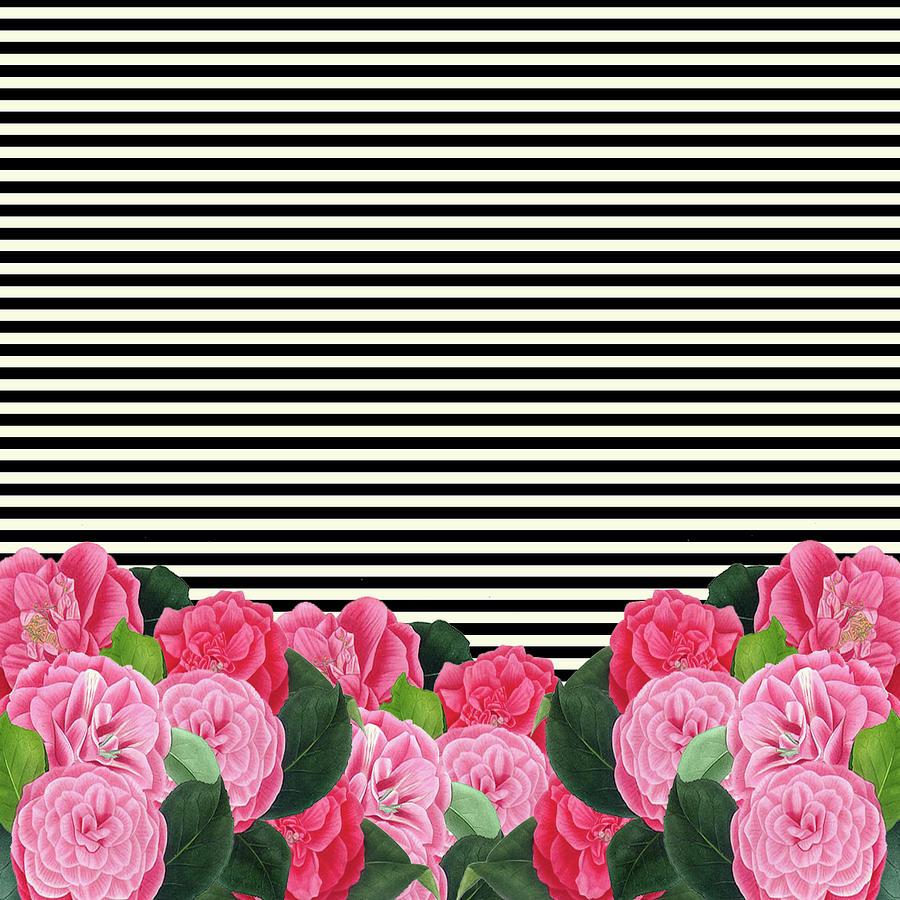 Floral Stripes Digital Art