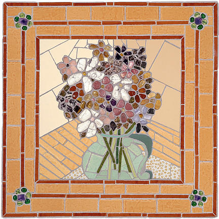 Mosaic Mixed Media - Floral Study II by Jonathan Mandell