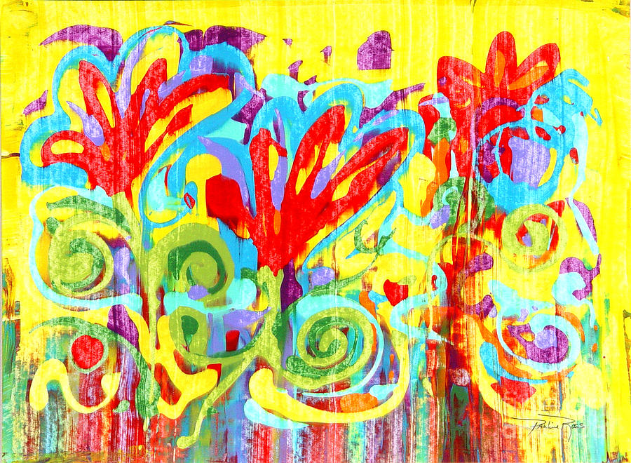 Flowers Painting - Floral Swirls by Pauline Ross