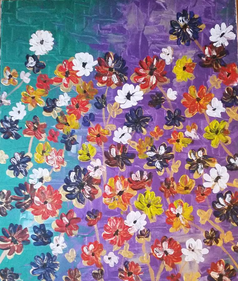 Abstract Flowers Painting - Floral Theme by Tayyaba Hafeez