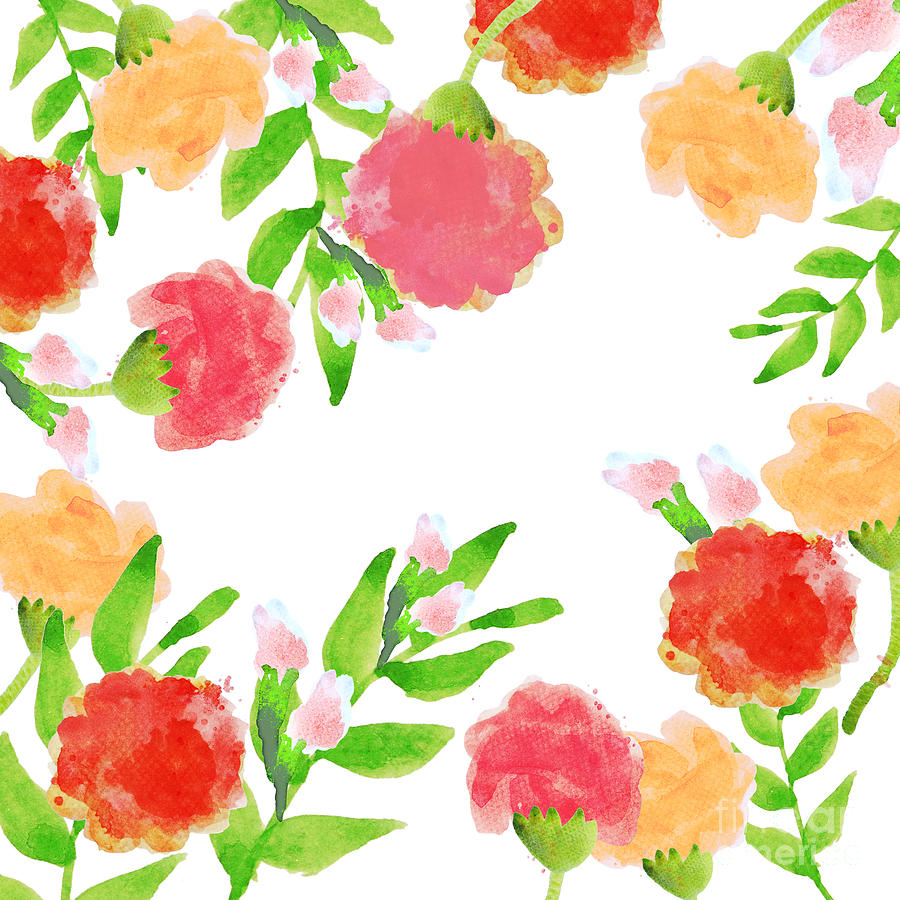 Abstract Painting - Floral Watercolor Border  by Rasirote Buakeeree