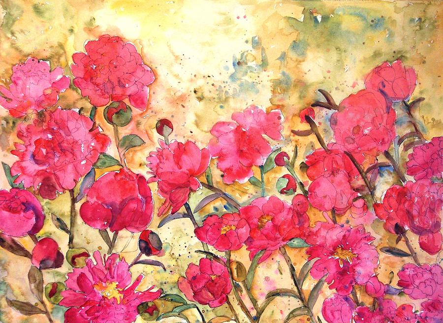 Floral watercolor painting of pink peonies flowers print coral peony painting floral watercolor painting of pink peonies flowers print coral bright pink yellow floral mightylinksfo