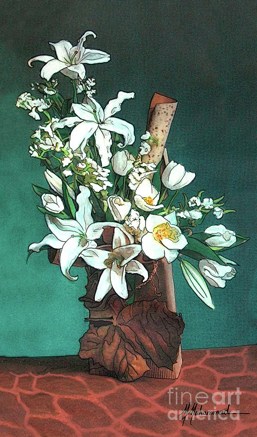 Lilies Painting - Floral White Lilies  by Marcella Muhammad