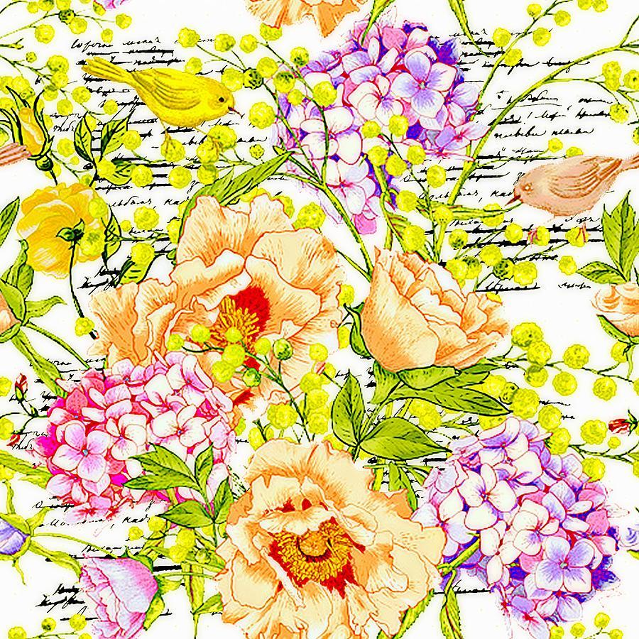 Floral With Script Digital Art by Elizabeth Mix