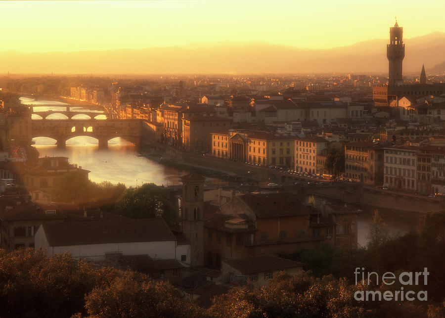 Florence Photograph - Florence And The Ponte Vecchio Dusk, Tuscany, Italy by Damian Davies