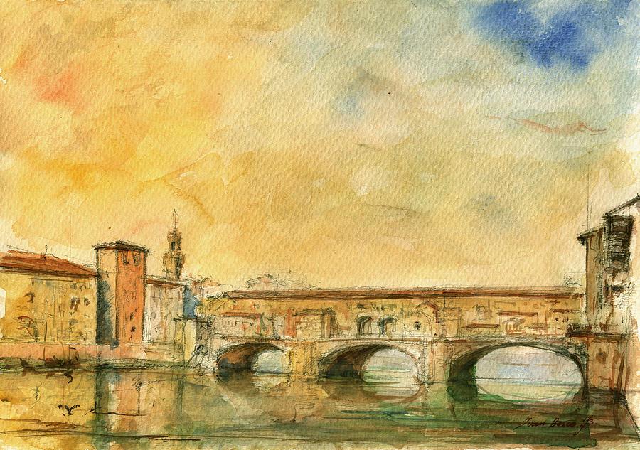 Italy Watercolor Painting - Florence Bridge Ponte Vecchio by Juan  Bosco