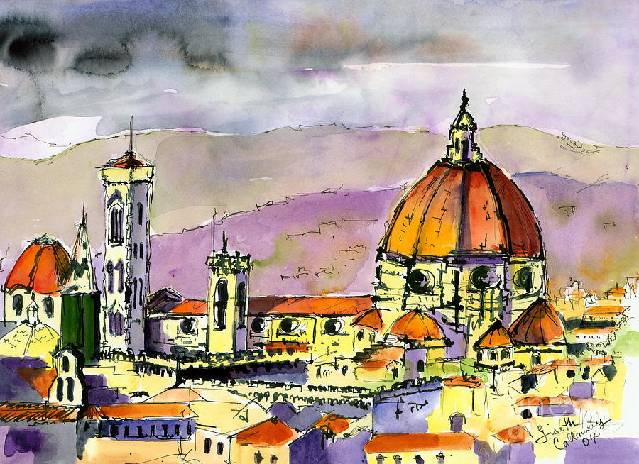 Italy Painting - Florence Cathedral Italy by Ginette Callaway