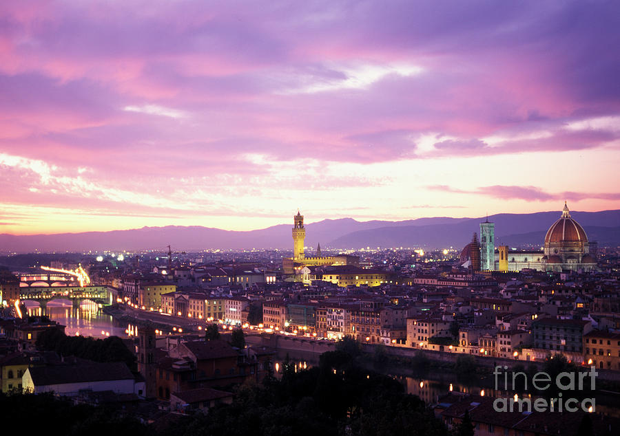 Florence Photograph - Florence dusk, Tuscany, Italy by Damian Davies