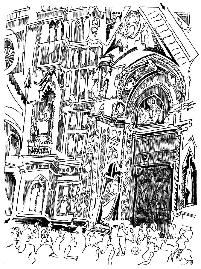 Church Drawing - Florence Maze by Gary Peterson