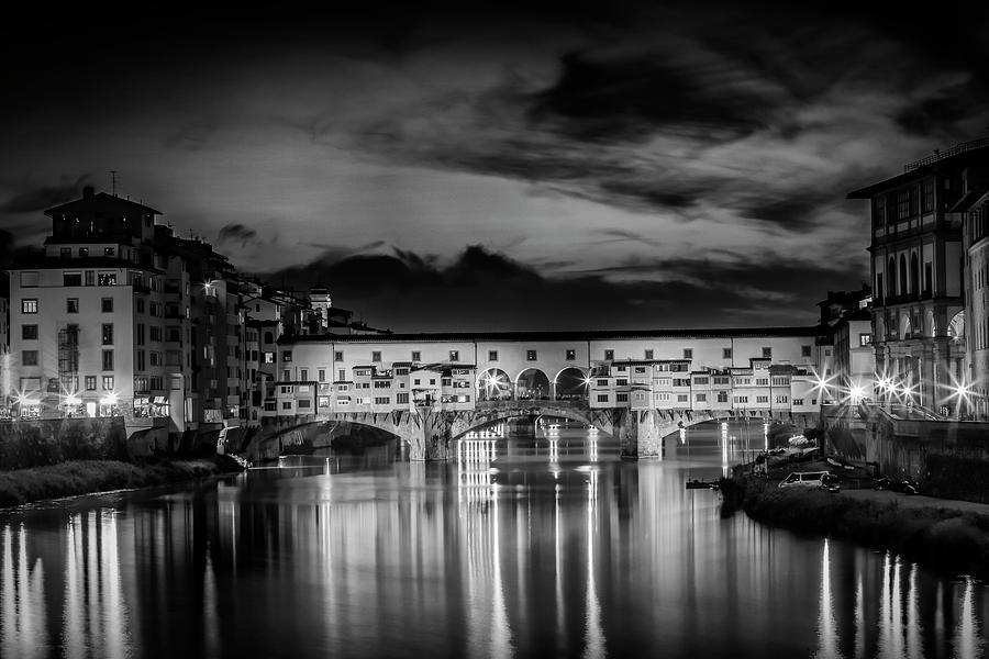 Ancient Photograph - Florence Ponte Vecchio At Sunset Monochrome by Melanie Viola