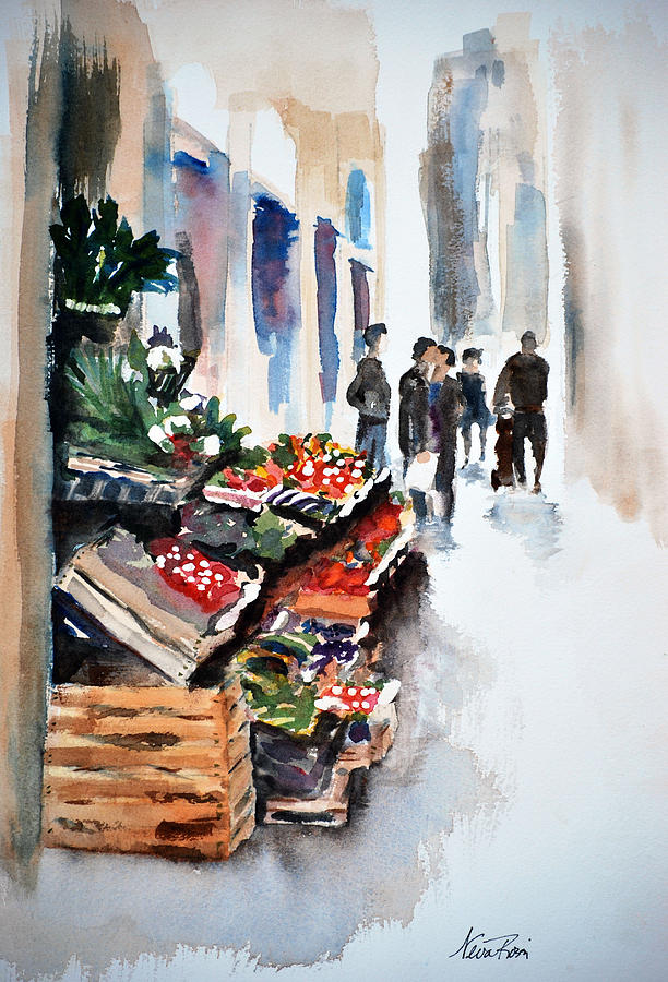 Street Painting - Florence Street Market by Neva Rossi
