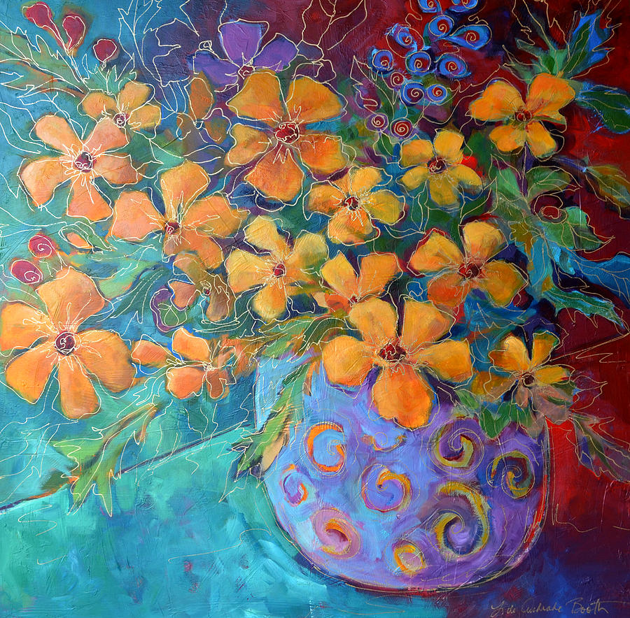Abstract Painting Painting - Flores En Vaso Azul by Filomena Booth