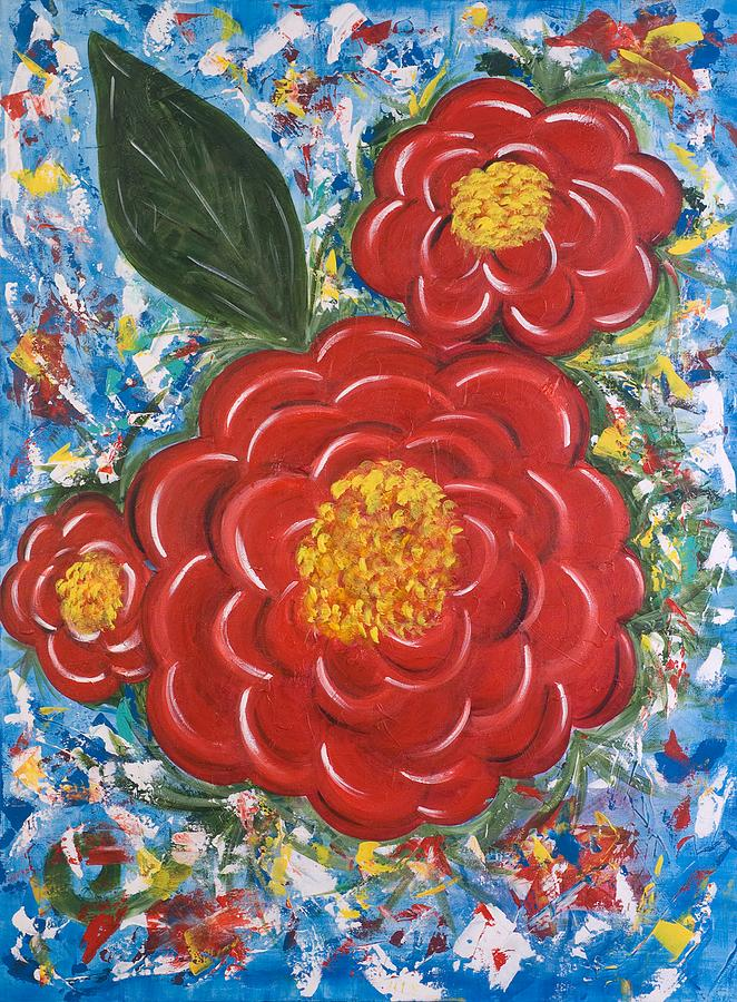 Bold Colors Painting - Flores Rojas by Lourdes Carlos