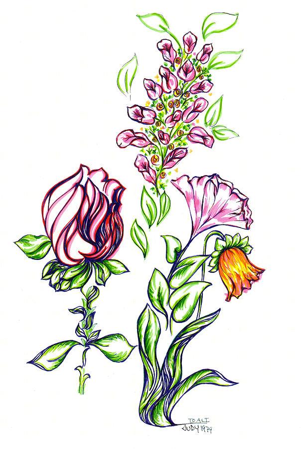 Florets Drawing by Judith Herbert