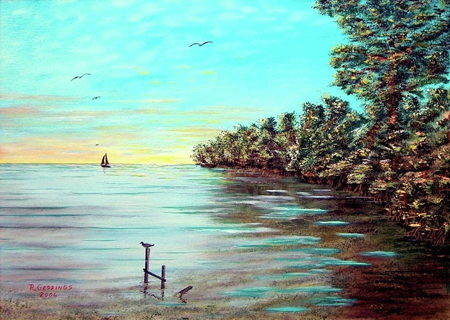 Oil Painting - Florida Bays Elliot Key by Riley Geddings