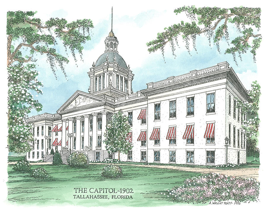 Florida Drawing - Florida Capitol 1902 by Audrey Peaty