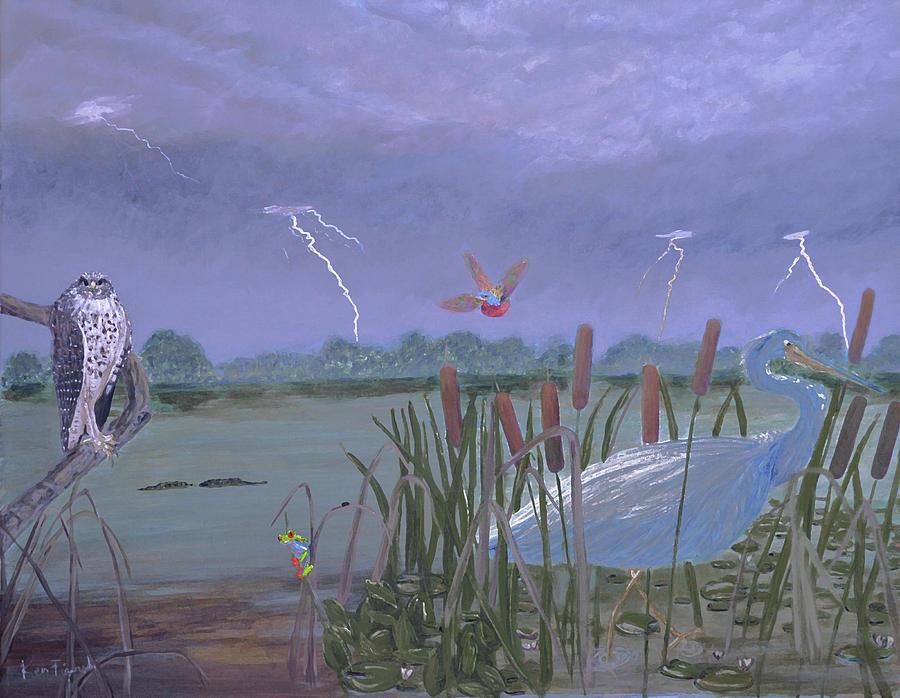 Thunder Painting - Florida Everglades Thunderstorm by Ken Figurski