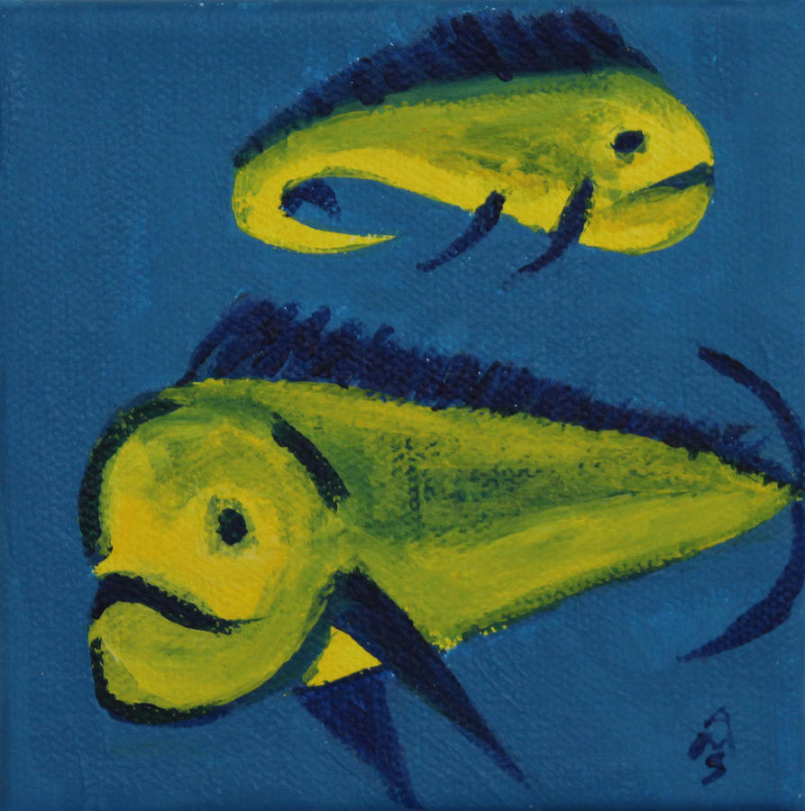 Yellow Green Painting - Florida Fish by Annette M Stevenson