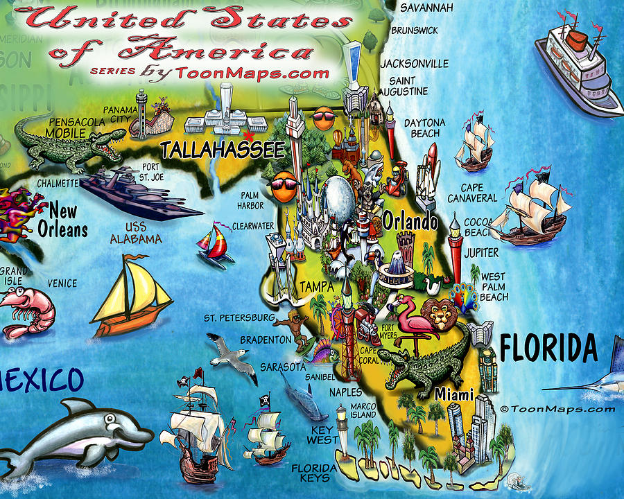 Florida Fun Map Digital Art