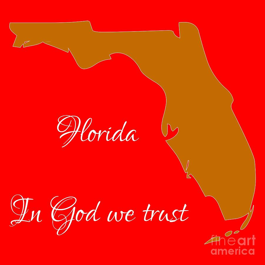 Florida Map In State Colors Orange Red And White With State Motto In