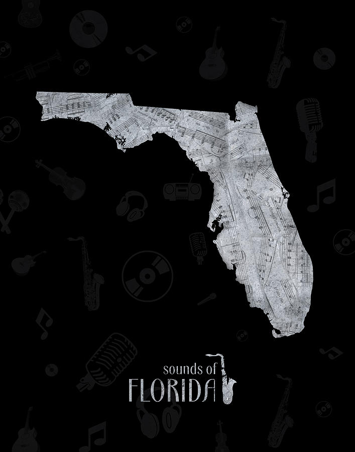 Florida Map Music Notes 2 Digital Art
