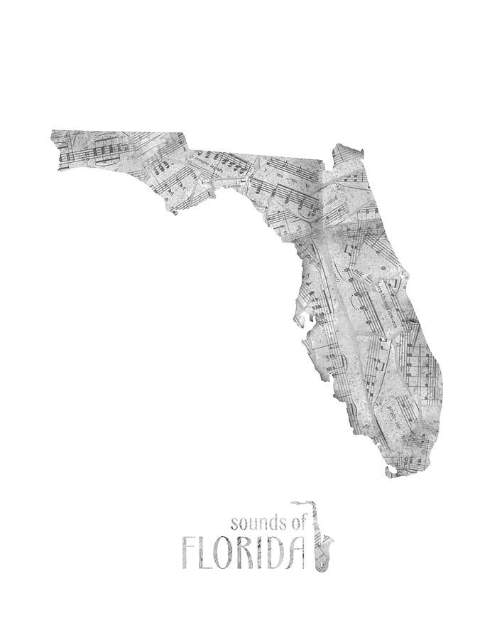 Florida Map Music Notes Digital Art