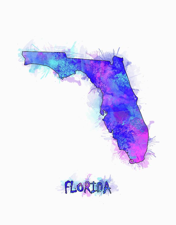 Map Of Watercolor Florida.Florida Map Watercolor 2 Digital Art By Bekim Art
