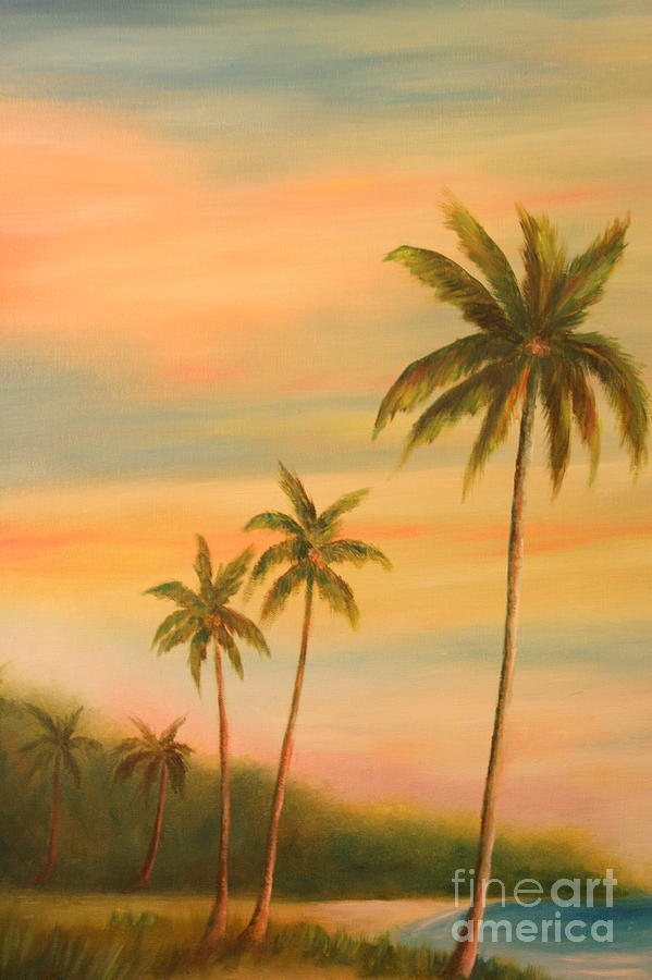 Florida Palms Trees Painting by Gabriela Valencia