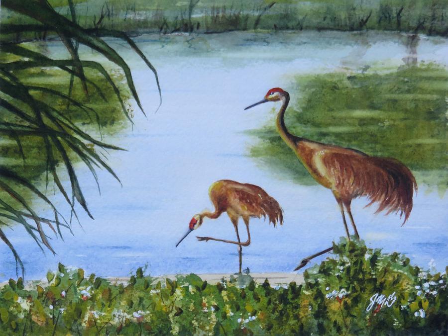 Florida Sand Cranes by Joseph Burger