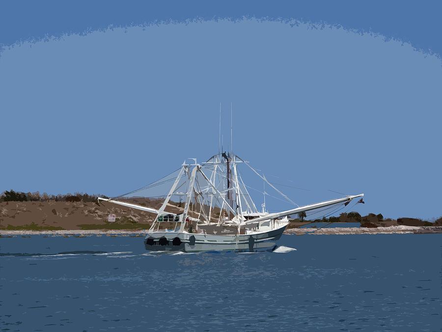 Shrimp Painting - Florida Shrimper by Allan  Hughes