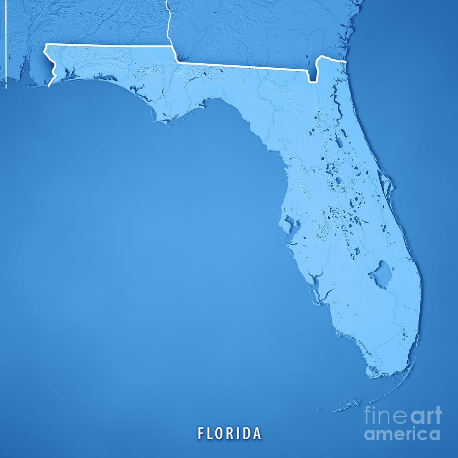 Topographical Map Of Florida.Florida State Usa 3d Render Topographic Map Blue Border Digital Art