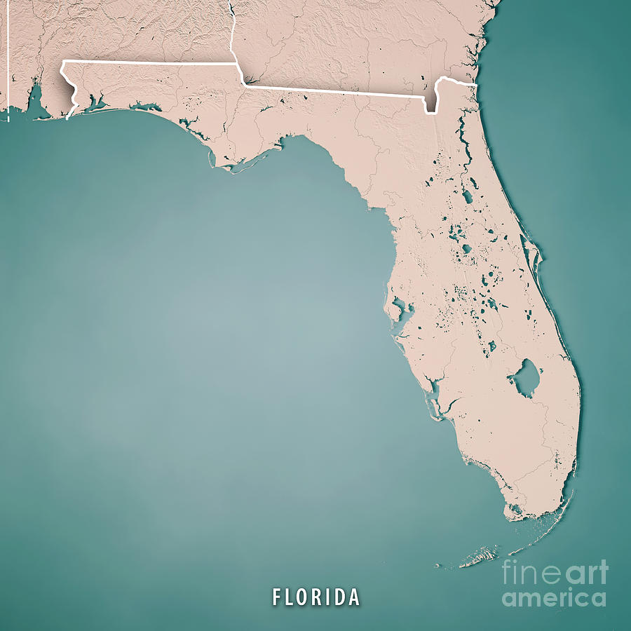 Florida State Usa 3d Render Topographic Map Neutral Border
