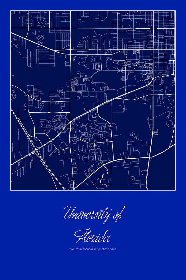 Map University Of Florida.Florida Street Map University Of Florida Gainesville Map By Jurq Studio