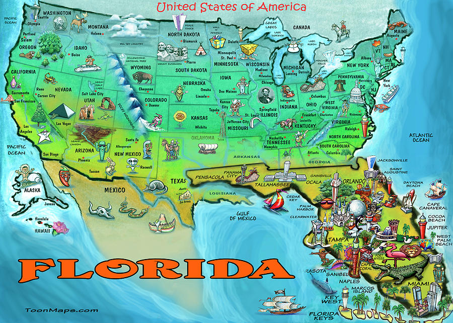 Florida Usa Cartoon Map Painting By Kevin Middleton - Florida-map-us