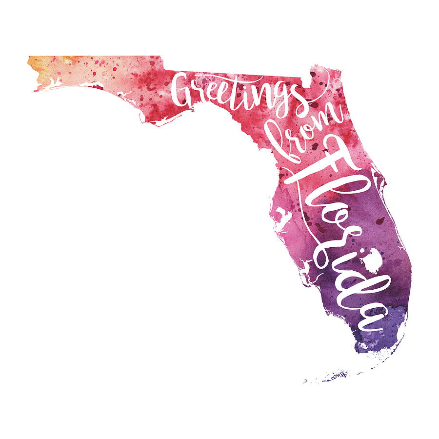 Florida watercolor map greetings from florida hand lettering painting painting florida watercolor map greetings from florida hand lettering by andrea hill kristyandbryce Image collections
