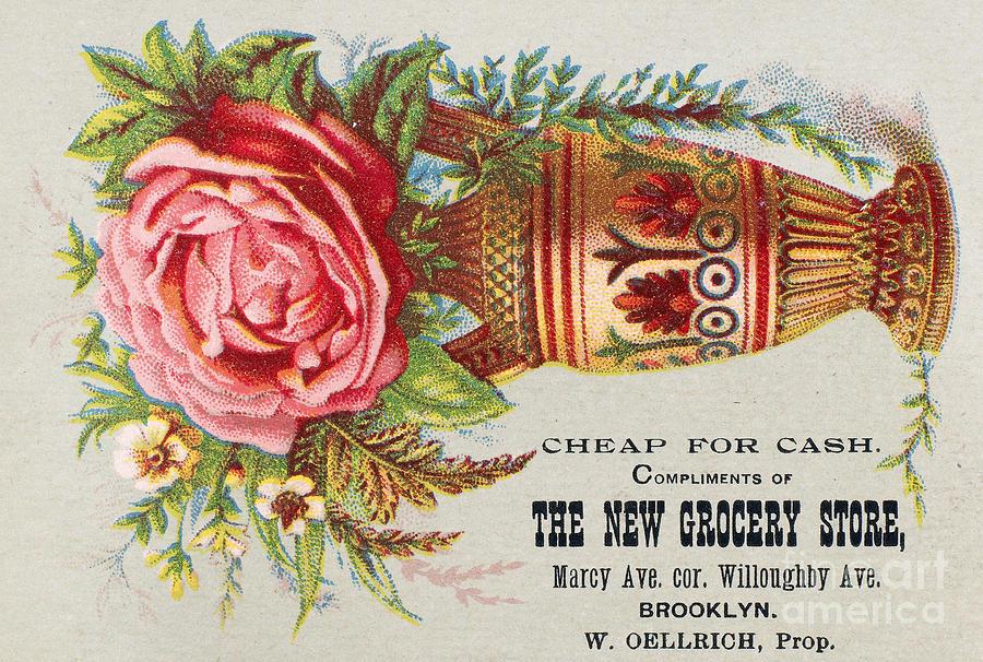 1890 Photograph - Florist Trade Card, C1890 by Granger