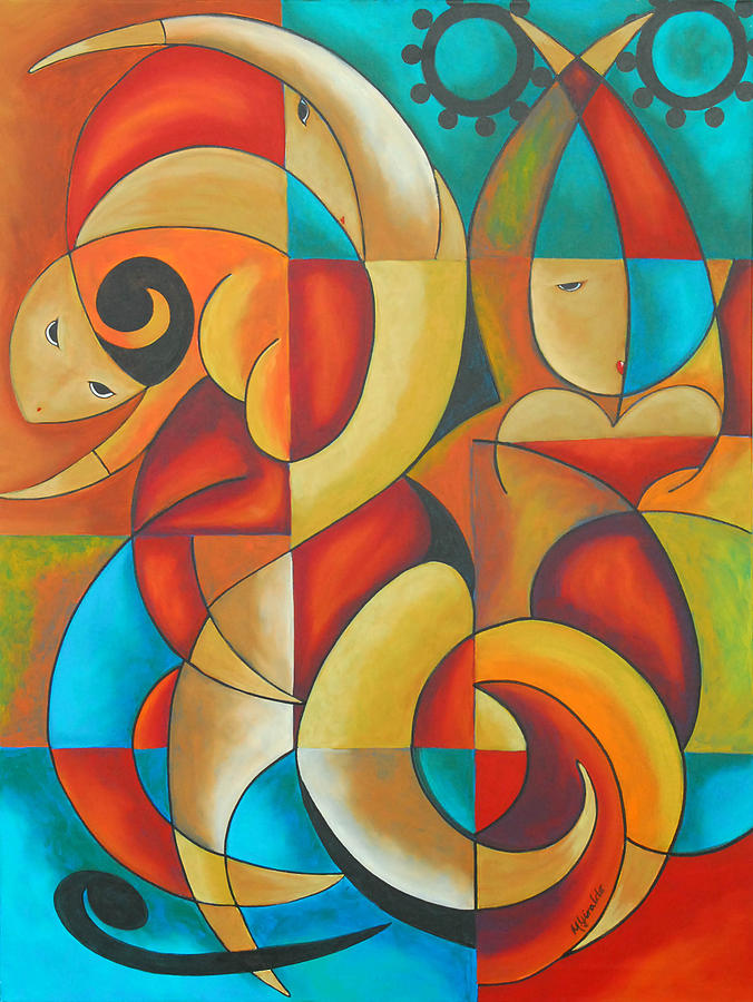 Abstract Expressionism Painting - Floutine With Rhythm by Marta Giraldo