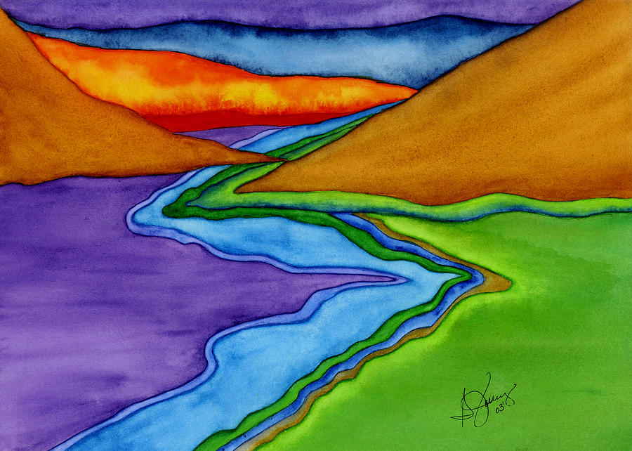 Abstract Painting - Flow - Blending The Chakras by Stephanie  Jolley